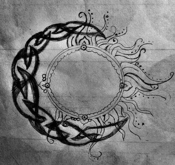 Tattoo: a Celtic moon and a Hindu sun   Tattoos ...