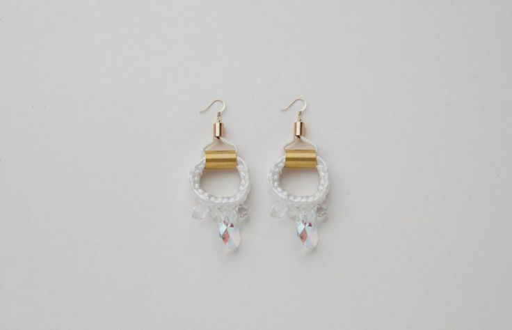 White Crystal Earrings Buy Online: www.pichulik.com/shop