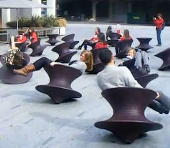Located in London's Southbank Centre ;Spun Chair is Inspired by the  spinning top toy, these seats actually spin like a top...