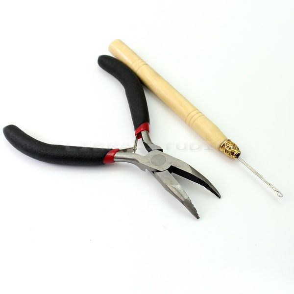 Hair Extension Tools Kit Hook Pliers For Silicone Micro Rings Beads Loops