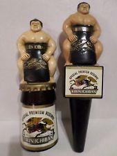 Rare Lot Set of 2 Kirin Ichiban Sumo Wrestler Beer Keg Tap Handle Marker Knob
