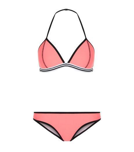 Teens Coral Contrast Trim Bikini  | New Look
