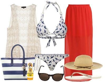 Een maxi rok is perfect om te dragen naar het strand- Combineer hem met jouw favo bikini. Een mooie grote strandhoed mag ook absoluut niet ontbreken.