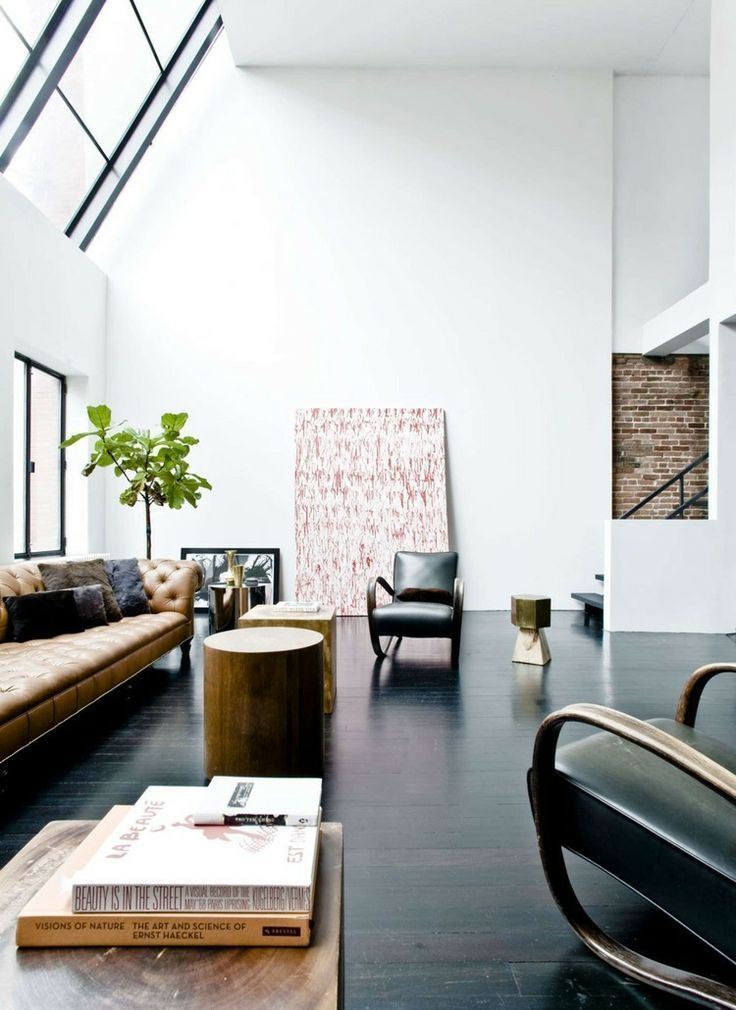 Love the contrast of the light room and dark floor