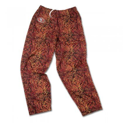 Outdo every other San Francisco fan out there with these fun Zubaz pants! They feature post pattern 49ers colors, with a team logo on the right hip.