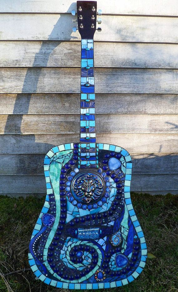 Stained Glass Mosaic Blues Guitar Gift for Musician by mandolin2, $875.00