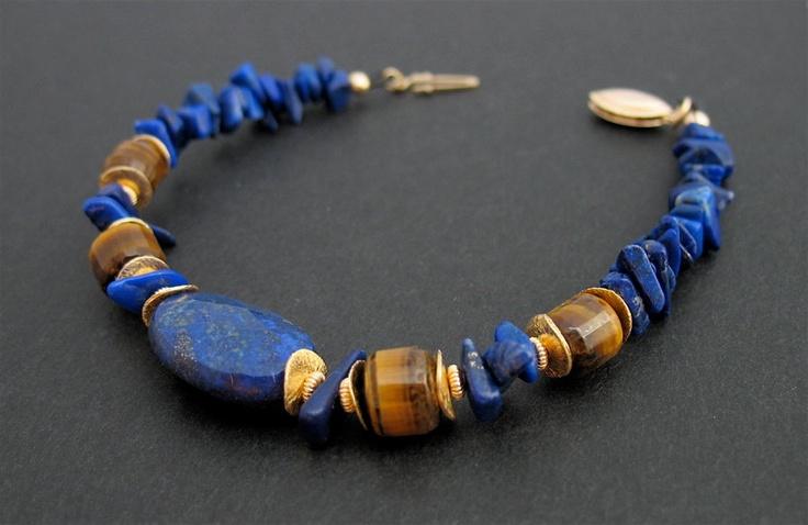 Blue Lapis Lazuli Bracelet, 14k Goldfilled, Vermeil.