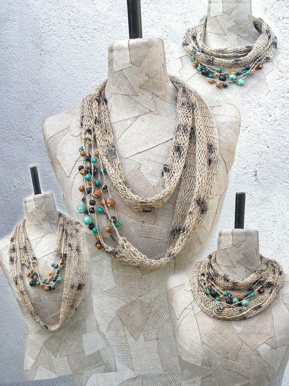 Grey Linen Boho natural summer infinity scarf loop by woollinen