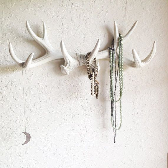 ANY COLOR or WHITE Antler Wall Mount // Rustic Wall Hook // Faux Deer Antler Wall Hook // Faux Taxidermy Wall Decor // Jewelry Holder (42.99 USD) by KINGFOUR