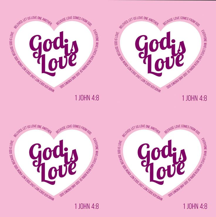 """Religious Fabric, Custom Print Fabric, """"God is Love"""" 1st John 4:8 Pink and White 6001"""