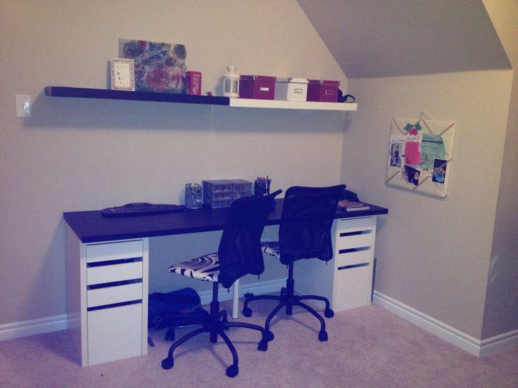 Back to school homework centre slanted ceiling ikea desk for Slanted shelves ikea