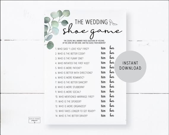 Eucalpytus The Wedding Shoe Game Bridal Shower Game Etsy In 2020 Shoe Game Wedding Bridal Shower Games Wedding Games