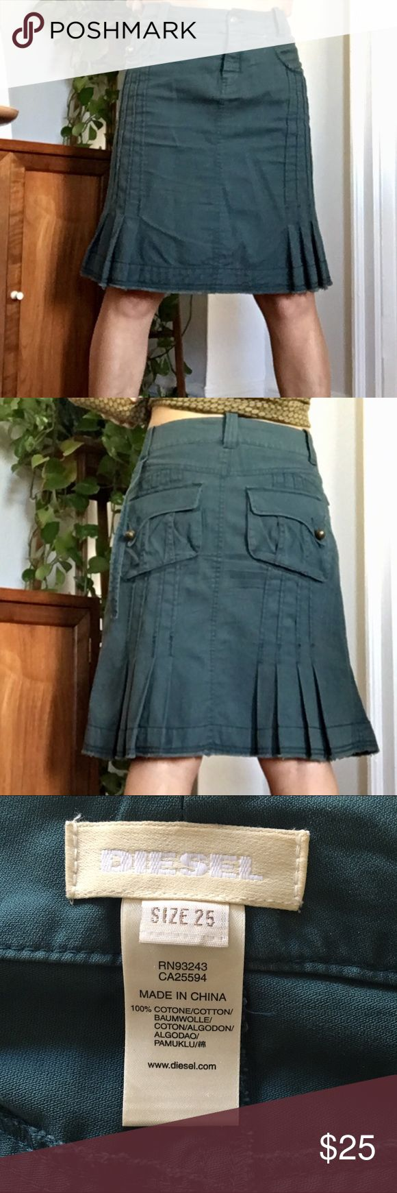 DIESEL Skirt Size 25 100% cotton skirt with great pocket and pleat details.  Unfortunately it is a bit too large in the waist for me. Waist is 14.75 inches across. Length is 19.5 inches.  The color is a blue green/teal color.   Smoke and pet free home. Diesel Skirts A-Line or Full