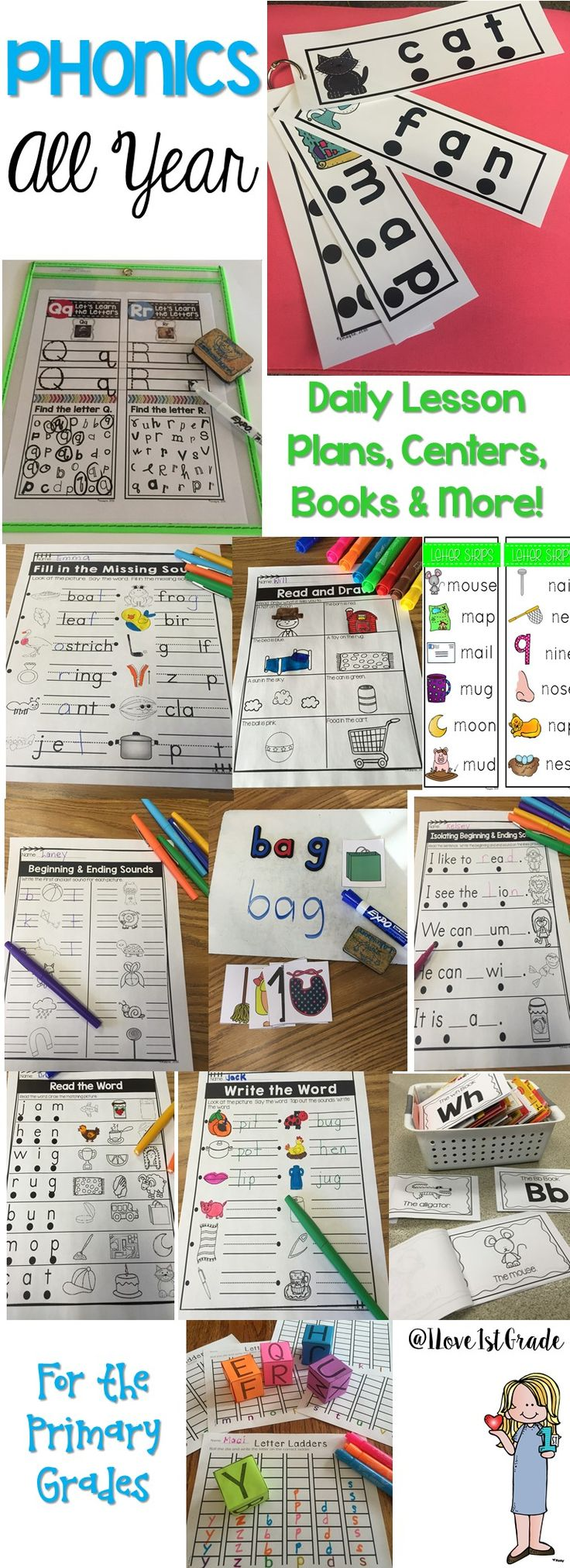493 pages of phonics and growing! Daily lesson plans, activities, books, worksheets, centers, and ore! This growing bundle is all you need to teach phonics!