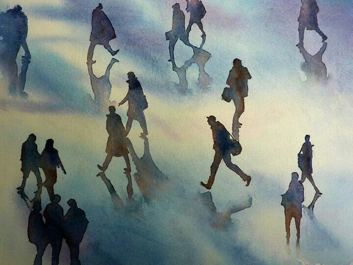 Thomas Haberman, Watercolour 40x30cm. People crossing Grand Central Station.