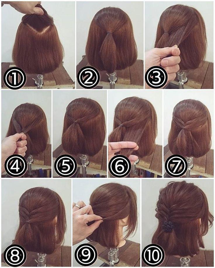 ボブアレンジ ① トップをこのように分けます。 ② その分けとったトップを結びます。 ③ その下の部分を幅広くとります。 ④ 両サイドからとって… ⑤ 後ろで結びます。 ⑥ またその下の部分を幅広くとります。 ⑦ 両サイドからとって後ろで結びます。 ⑧ またその下にも同じように両側からとって後ろで結びます。 ⑨ 届かなかったサイドの髪は適量を残してピンで目立たないところで留めておきます。 ⑩ 少し毛束を引き出して柔らかく表情付けをしたら完成です! #横浜美容室#ヘアサロン#ヘアエステ#美容室#ヘアアレンジ#ヘアアレンジ解説#ヘアアレンジプロセス#簡単アレンジ#まとめ髪#ボブアレンジ#ハーフアップ#横浜#石川町#元町#nest#スタッフ募集#スタッフ募集中