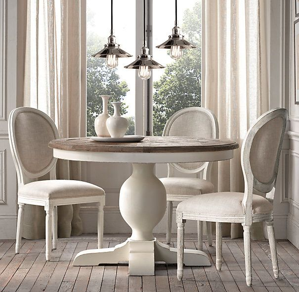 baroque parquet round dining table restoration hardware