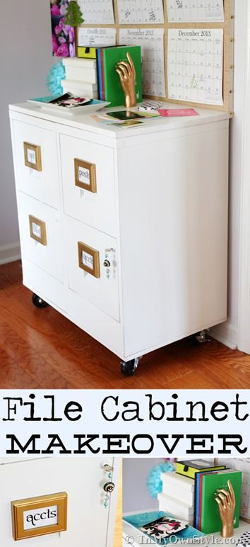 Easy way to glam up a file cabinet and add wheels File cabinet makeover