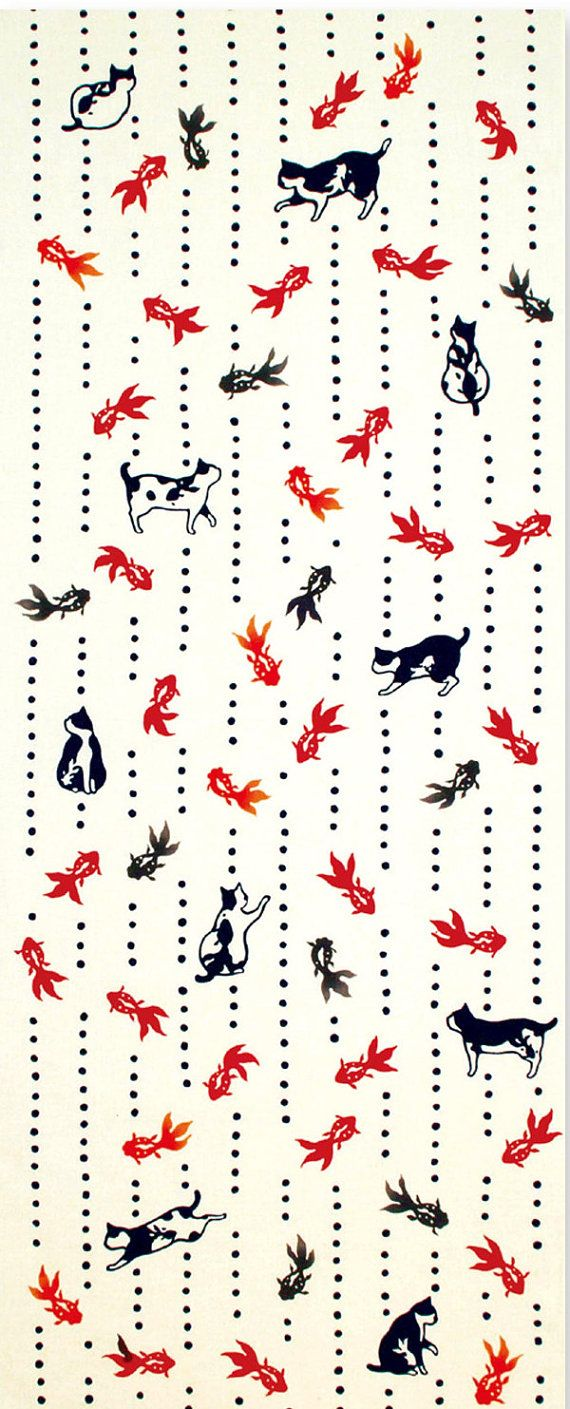 Japanese Tenugui Towel Cotton Fabric, Kawaii Little Kitty Cat, Goldfish Fish Design, Hand Dyed Fabric, Modern Art Fabric, Home Decor, k080