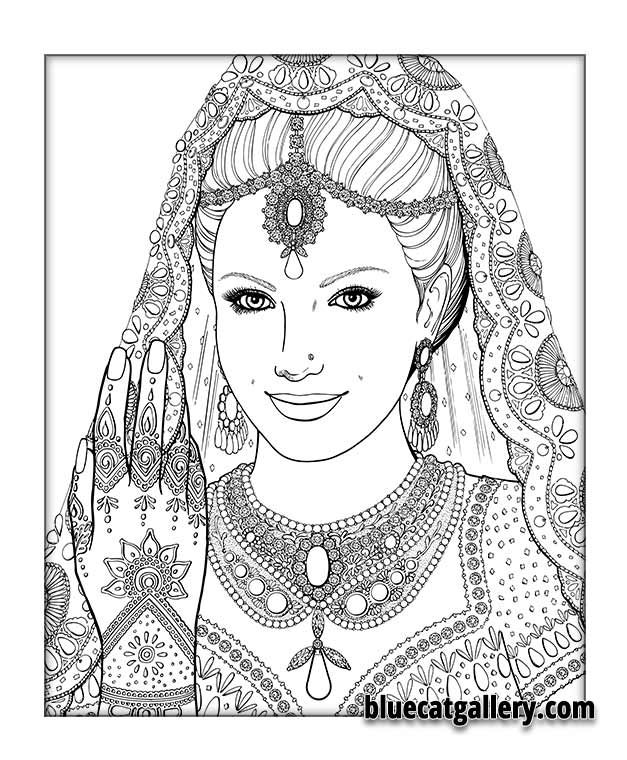 color me beautiful women of the world coloring book indian bride zentangles adult