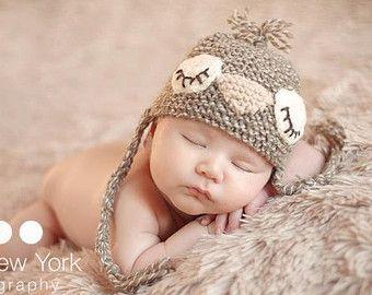 Prop photo nouveau-né, chapeau nouveau-né, garçon nouveau-né, fille nouveau-née, chapeau nouveau-né tricot, les accessoires nouveau-né, chapeau de birdie Sleepy en taille nouveau-né