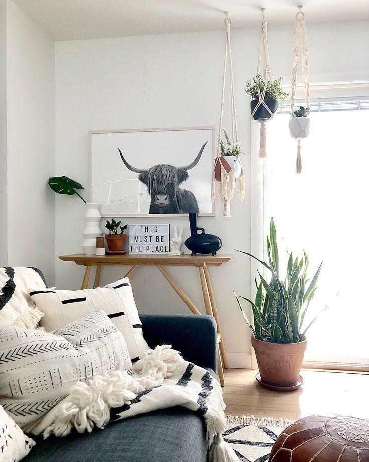 Boho Modern Living Room: Highland Cow Print (Black And White)