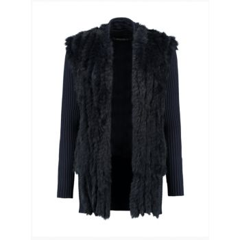 cashmere knitwear - Rino & Pelle Cardigan BRUNETTI Rabbit Fur Navy