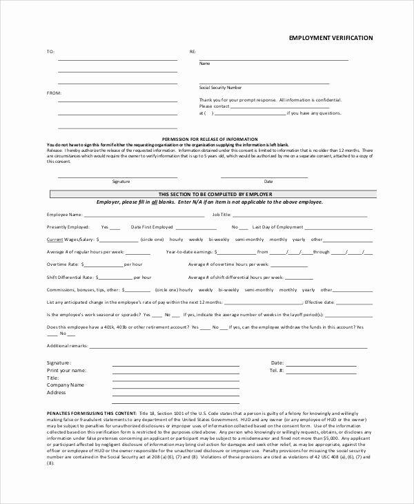 Previous Employment Verification Form Template Luxury Verification Employment Form Template Employment Form Templates Job Application Form