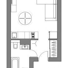 Скандинавский дизайн интерьера маленькой квартиры-студии 24 кв. м.-5