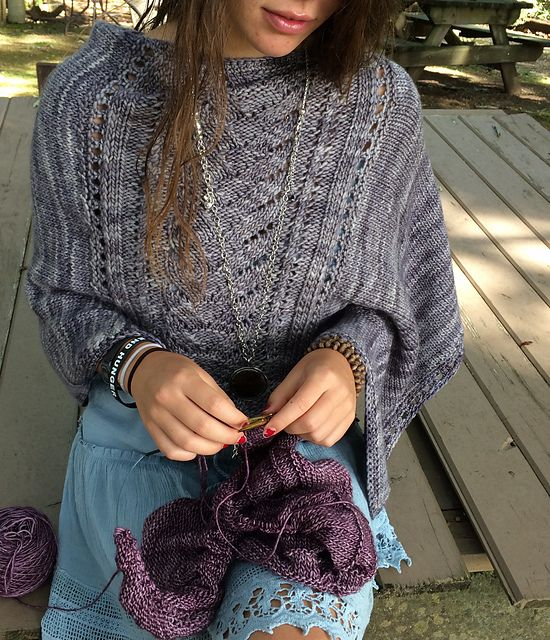 """In celebration of Jillian Moreno's new book Yarnitecture here is a free pattern!!! Denizen Poncho uses both knitting and crochet stitches just like my project """"Sweet Omega"""" in Yarnitecture. Denizen is an asymmetrical poncho with a lace panel flanked by sideways knitted stockinette panels and finished with crochet. It's a perfect project for the same weight handspun that I spun for Sweet Omega."""