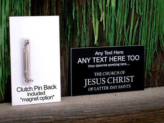 Future Missionary Name Tag with pin fastener by MadRiverLaser