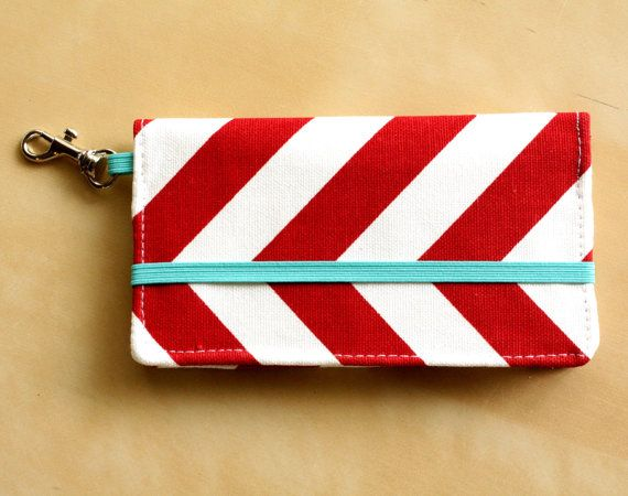 iPhone Cell Phone Wallet - Red Chevron Print - Custom Cell Phone Case - Smart Phone Wallet. $22.00, via Etsy.