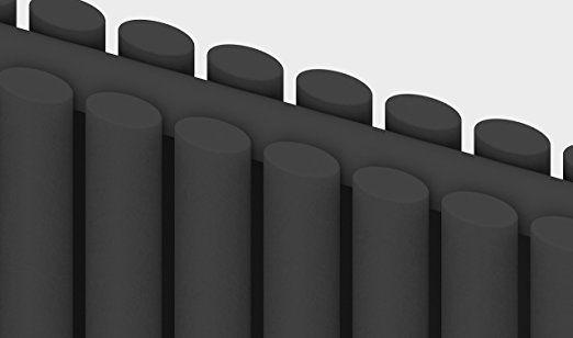 Simple Home | Termosifone design Borvo Antracite Lucido raddoppiare Pannello Ovale Orizzontale 635 x 590 mm: Amazon.it: Casa e cucina