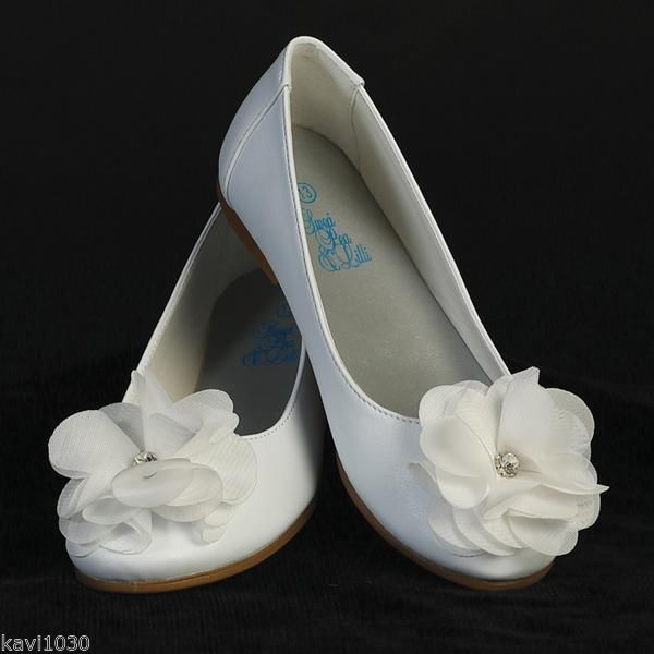Youth Girls White Dress Shoes Flats Fabric Flower  Rhinestone First Communion