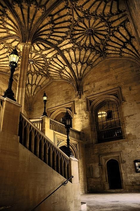 Beautiful Places...Stunning Staircase to the Great Hall, Christ Church, Oxford, UK, photo by Dom Cram. —