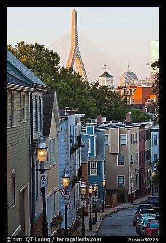 Steep stret on Breeds Hill, with bridge in background, Charlestown. Boston, Massachussets, USA