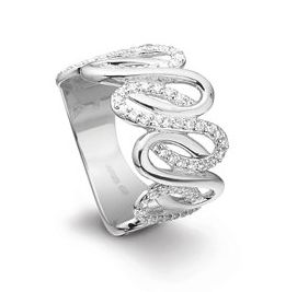 The wavy ring in silver with beautiful rocks