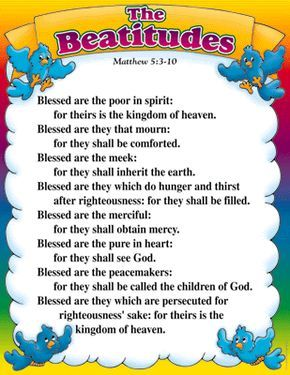 the Beatitudes..Matthew 5:3-12