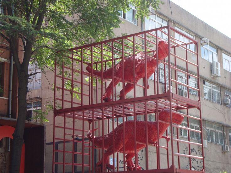 DINO798. Foto scattata alla 798 difronte al Ullens Center for Contemporary Art.