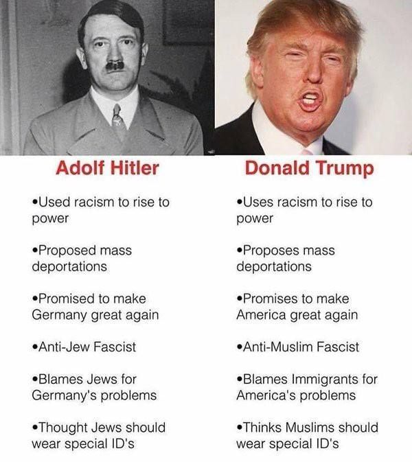 The comparisons between Trump and Hitler are always going to invite controversy. But it is really important to remember that nobody is making the comparison between Trump now and Hitler at the height of the dictatorship that acted as a catalyst for mass genocide.  The comparison is between Hitler when he started to bring fascism to the German population and Trump who is doing very much the same thing now. Silencing the press public condemnation of the legal system demonising of religious…