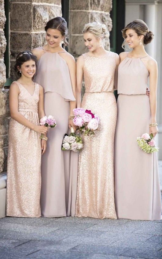 Mixing fabrics is hot on the trends for 2016- 2017 weddings! Gold Sequins and Vintage Rose Chiffon bridesmaid dresses! Sequin dresses for teens too!
