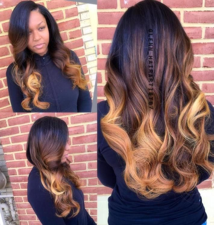 black to caramel ombre weave…