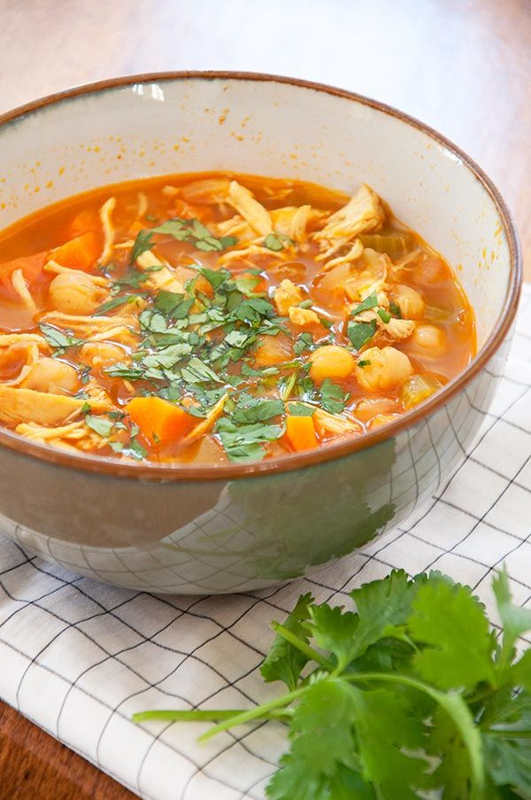 Inspired by Joey's and the spices of Morocco, this Moroccan chicken soup has a combination of chickpeas, chicken and carrots for a healthy, flavourful soup.