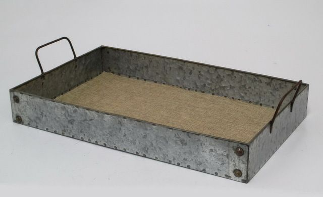 Galvanized Metal Serving Tray with Linen Liner transitional-serving-trays