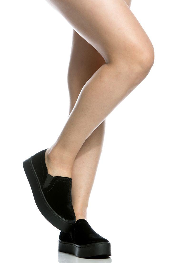 Black Velvet Flatform Slip On Sneakers @ Cicihot Women Sneakers-Fashion Sneakers,Casual Sneakers,Wedge Sneakers,Platform Sneakers,Hidden Wedge Sneakers,High Top Sneakers,Lace Up Sneakers,Studded Sneakers,Buckle Sneakers