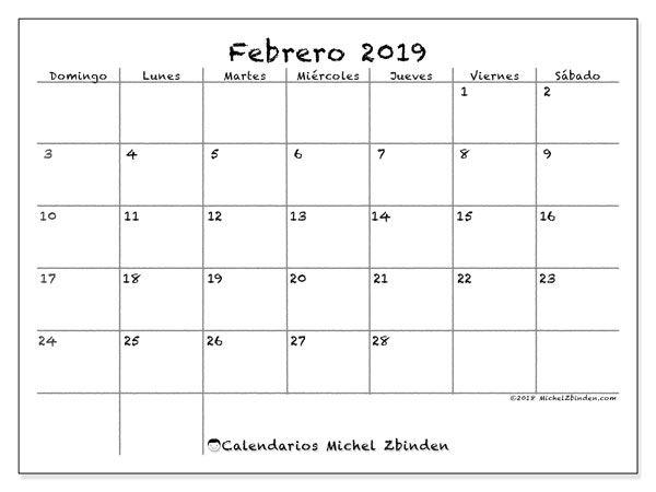 Febrero 2019 Calendario.Calendario Febrero 2019 77ds Calendarioss Calendario Julio