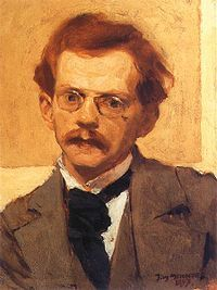 Józef Mehoffer (19 March 1869 - 8 July 1946) was a Polish painter and decorative artist, one of the leading artists of the Young Poland movement and one of the most revered Polish artists of his time. this is a Self-Portrait, oil on canvas of 1897, in the National Museum, Warsaw