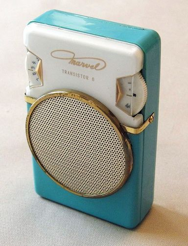 The iPod has nothing on this adorably turquoise transistor radio from the early 1960s.  This is too cute :)                                                                                                                                                      More