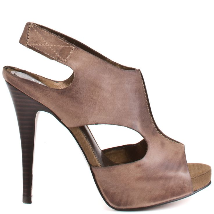 Slip your feet into these sandals from Charles by Charles David. Seam brings you luxurious brown leather upper which straps across the top of your foot from toe to ankle, ending in an easily closed slingback strap. A 4 3/4 inch stiletto heel perfects these leather sandals.