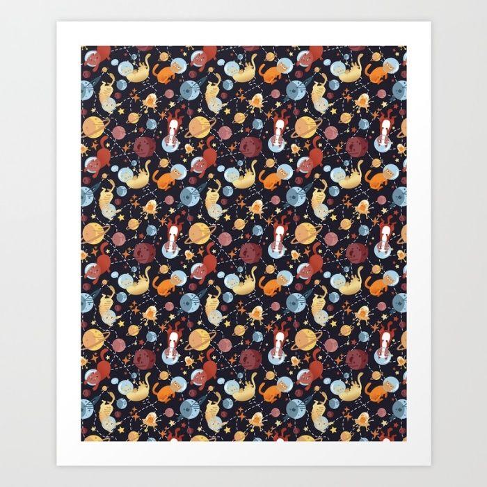 Cat astronaut seamless pattern Art Print by Erika Biro | Society6